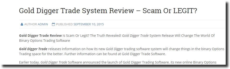 Binary options watchdog gold digger